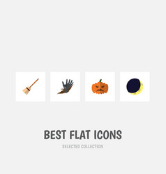flat icon halloween set of broom zombie pumpkin vector image vector image