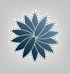 Flower sign blue icon with outline for vector