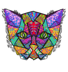 hand drawn doodle outline cat head vector image vector image