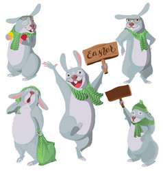 happy easter set of funny white rabbits vector image vector image