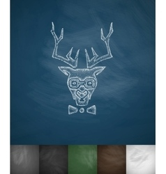 Hipster deer icon hand drawn vector
