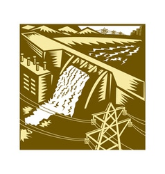 Hydroelectric hydro energy dam woodcut vector