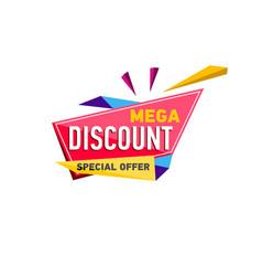 Mega discount sticker in triangle style vector