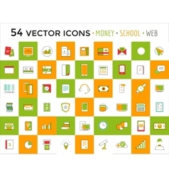 Objects icons set business or school and vector