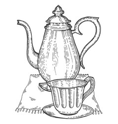 old vintage teapot and cup engraving style vector image