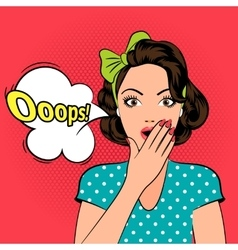Ooops Surprised pop art woman vector image vector image