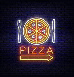 pizza neon sign pizzeria neon logo emblem vector image vector image