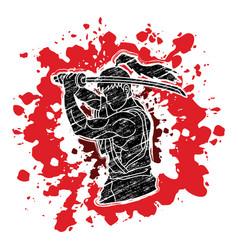 Samurai with sword katana vector