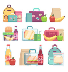School snacks bags healthy food in kids lunch vector