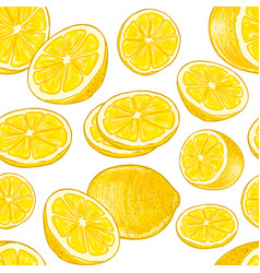 Seamless lemons pattern vector