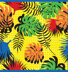 Seamless pattern of tropical leaves in pop art vector