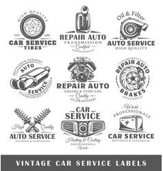 Set of vintage car service labels vector