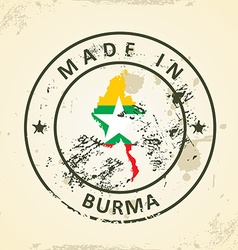Stamp with map flag of Burma vector image