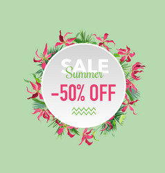 summer sale tropical flowers banner for discount vector image vector image