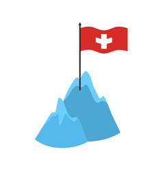 Swiss alps mountains icon high cliffs and snow vector