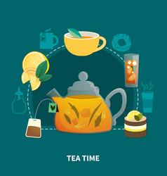 Tea time flat composition vector