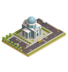 Temple building isometric composition poster vector