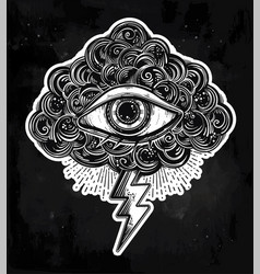 Vintage eye in clouds traditional flash tattoo vector