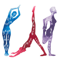 Watercolor silhouettes of woman practicing yoga vector