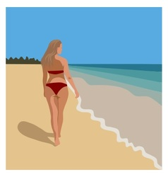 Woman walking at beach in red bikini vector