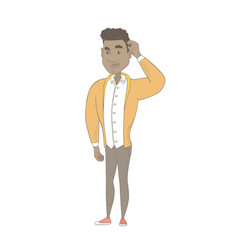 Young african-american man scratching his head vector