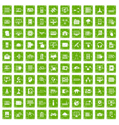 100 database and cloud icons set grunge green vector image vector image