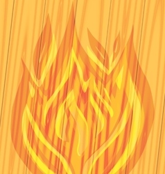 Flames of fire on the wooden vector