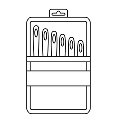 Set of needles icon outline style vector
