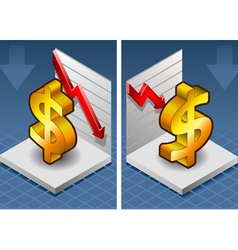 isometric symbol of dollar with red arrow down vector image