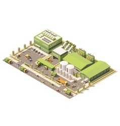 isometric low poly garbage recycling center vector image