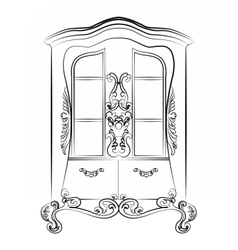 Showcase cabinet with rich ornaments vector