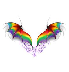 Wings of rainbow dragon vector