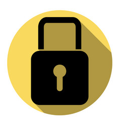 Lock sign   flat black icon vector