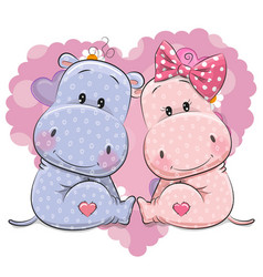 two cute cartoon hippos vector image