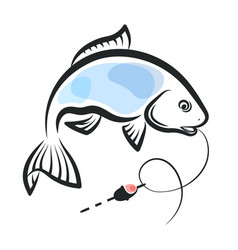 Fish caught on a hook vector