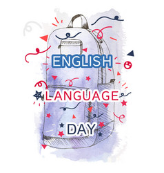 English language day banner vector