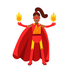 young black woman in classic red superhero costume vector image