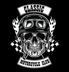 Motorcycle club badge with skull wearing helmet vector