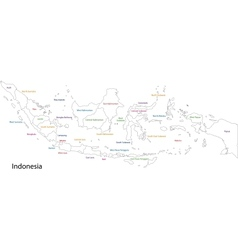 Outline indonesia map vector