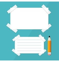 Empty white paper sheet with stickers and pencil vector