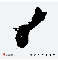 High detailed map of guam with navigation pins vector