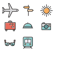 Set of travel icons vector