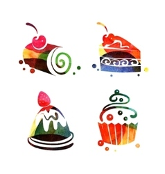 Set of watercolor sweet cake silhouettes vector