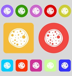 Pizza icon 12 colored buttons flat design vector