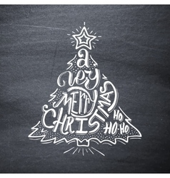 Very Merry Christmas on chalkboard Greeting card vector image