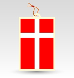 Danish flag made in tag vector