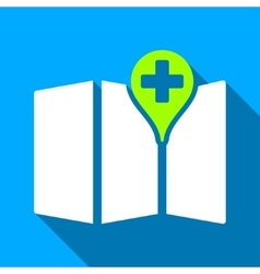 Medical map flat long shadow square icon vector