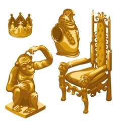 Royal throne golden monkey and breastplate vector