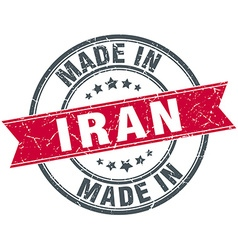 Made in iran red round vintage stamp vector