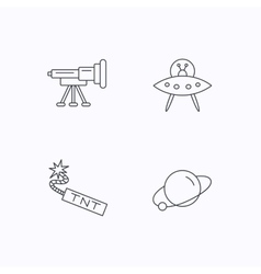 Ufo planet and telescope icons vector
